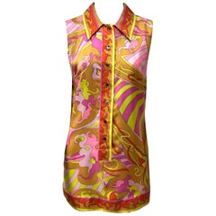 Emilio Pucci Silk Orange, Yellow, and Pink Button Down Top-42