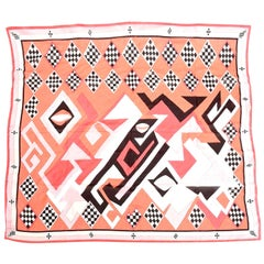 Emilio Pucci Silk Pink, Coral, Black Chiffon Geometric Square Scarf Vintage