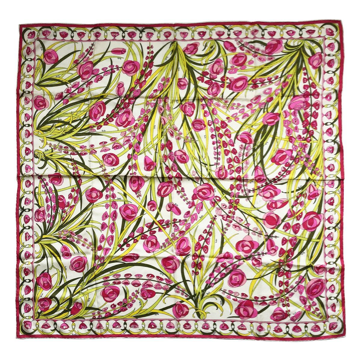 Emilio Pucci Silk Scarf Shawl 34in Vintage 70s Pink Florals