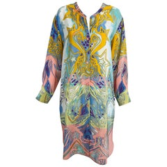 Emilio Pucci Silk Star Print Button Front Long Sleeve Dress
