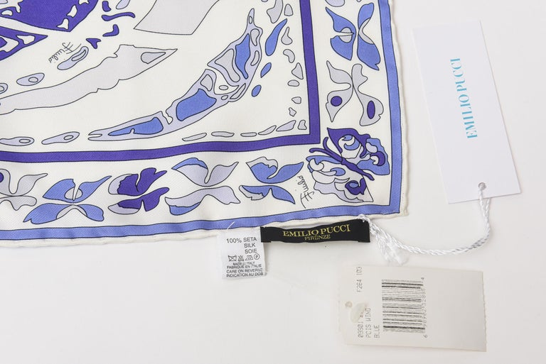 Emilio Pucci Silk  Square Scarf Vintage Italian For Sale 5