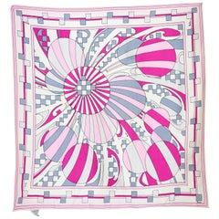 Emilio Pucci Silk White Pink Geometric Handkerchief Scarf