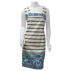 Emilio Pucci Size 10 Blk/Wht/Blu S/L Striped Dress with Geometric Pattern
