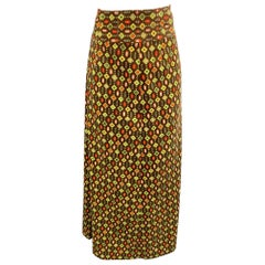 EMILIO PUCCI Size 12 Brown Abstract Velvet Cotton A-line Skirt