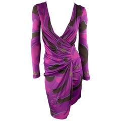 EMILIO PUCCI Size 4 Purple Printed Viscose Asymetrical Drape V Neck Dress