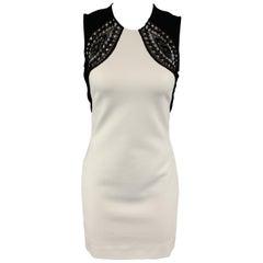 EMILIO PUCCI Size 4 White Black Lace Trim Sheath Mini Dress