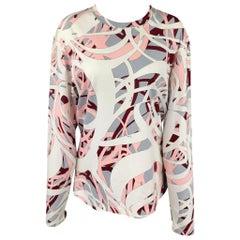 EMILIO PUCCI Size L Multi-Color Print Cotton Crew-Neck T-shirt