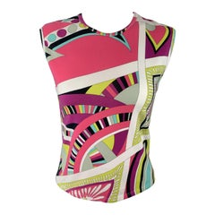 EMILIO PUCCI Size M Multi-Color Print Cotton Jersey Tank Top