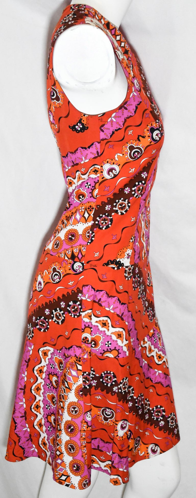 Women's Emilio Pucci Sleeveless Red Print Cotton Dress  For Sale