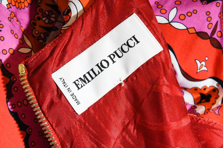 Emilio Pucci Sleeveless Red Print Cotton Dress  For Sale 1