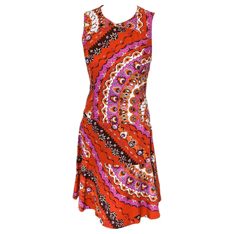 Emilio Pucci Sleeveless Red Print Cotton Dress  For Sale
