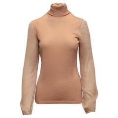 Emilio Pucci Tan Virgin Wool & Silk Turtleneck Sweater