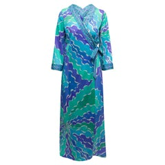 Emilio Pucci Turquoise & Mulitcolor Abstract Print Robe Dress