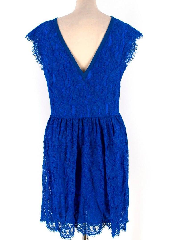 Blue Emilio Pucci V-back blue lace dress US 6 For Sale