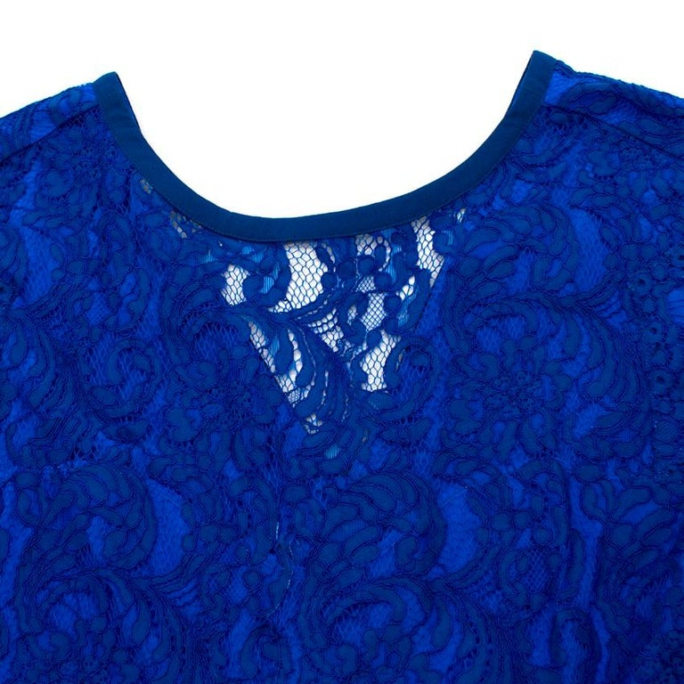 Women's Emilio Pucci V-back blue lace dress US 6 For Sale