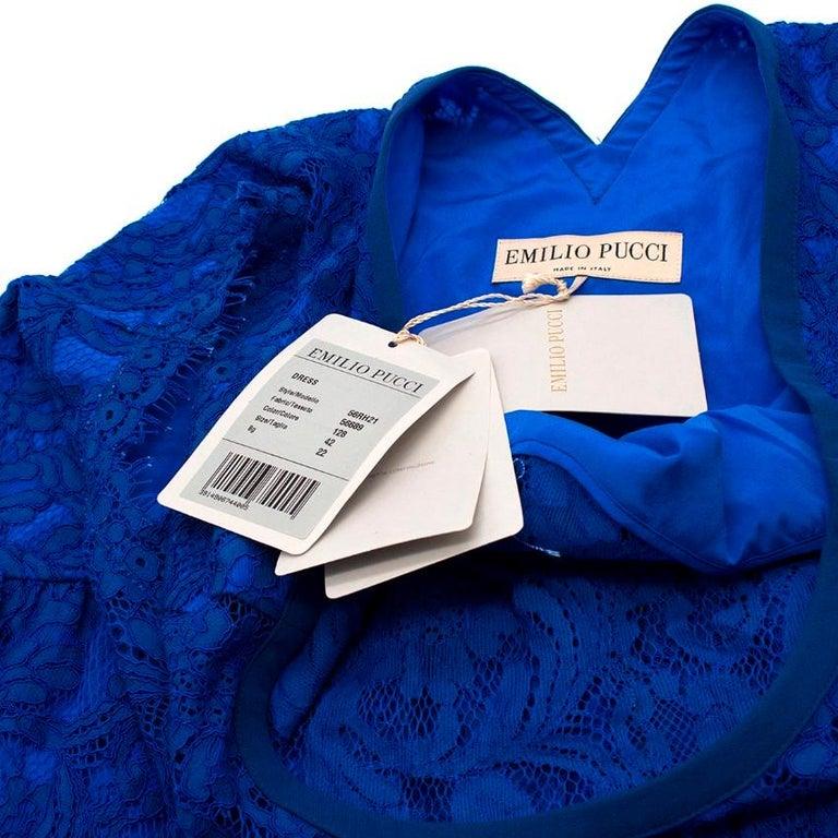 Emilio Pucci V-back blue lace dress US 6 For Sale 2