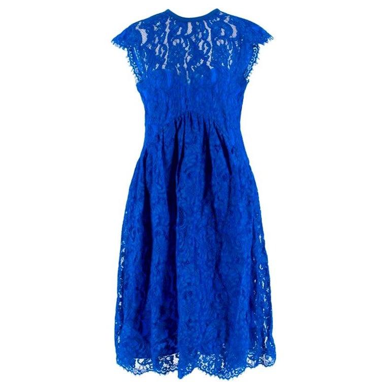 Emilio Pucci V-back blue lace dress US 6 For Sale
