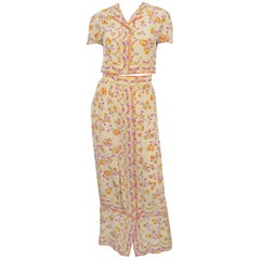 Emilio Pucci Vintage 1970's Print Cropped Top and Maxi Skirt Set