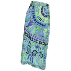 Emilio Pucci Vintage Blue Print Skirt Cover Up