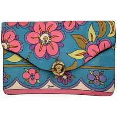 Emilio Pucci Vintage Multicolor Floral Silk Pochette Envelope Clutch Bag