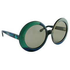 Emilio Pucci Vintage Oversized Iconic Psychedelic Pastel Print Sunglasses