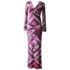 Emilio Pucci Vintage Printed Silk Maxi Dress