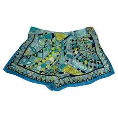 Emilio Pucci Vintage Silk Cover Up Shorts Blue (38 IT)