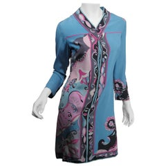 Emilio Pucci Vintage Silk Size 10 Blue Printed Zip Front Tunic Dress