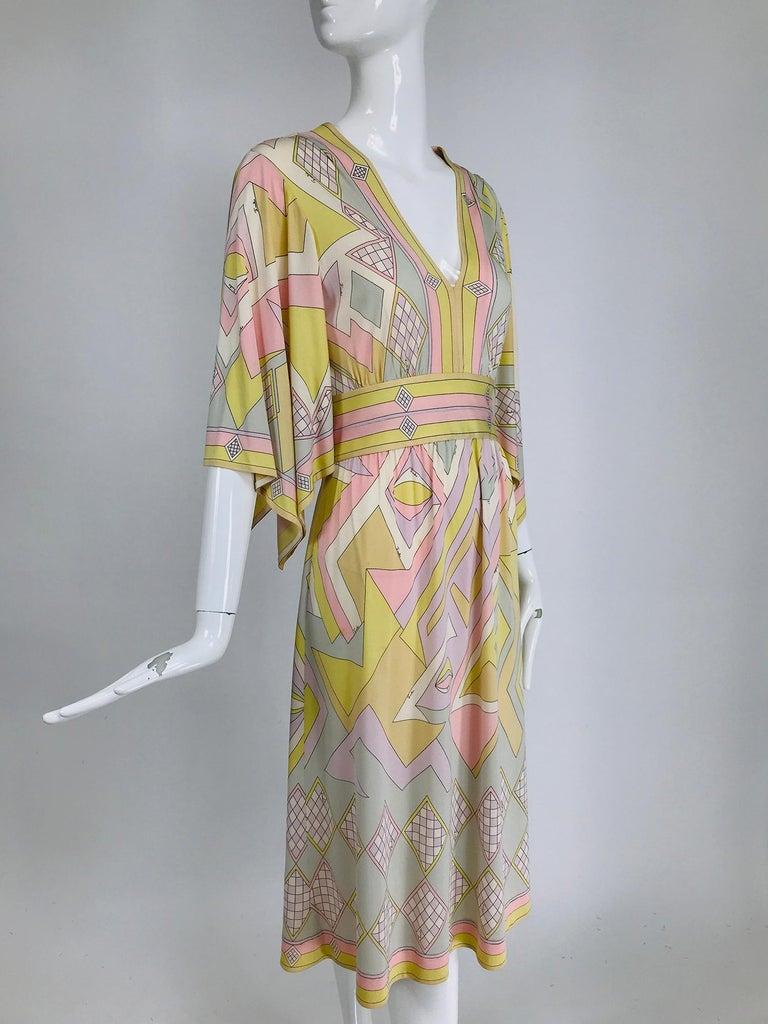 Emilio Pucci Vintage Silk V Neck Kimono Sleeve Day Dress  For Sale 5
