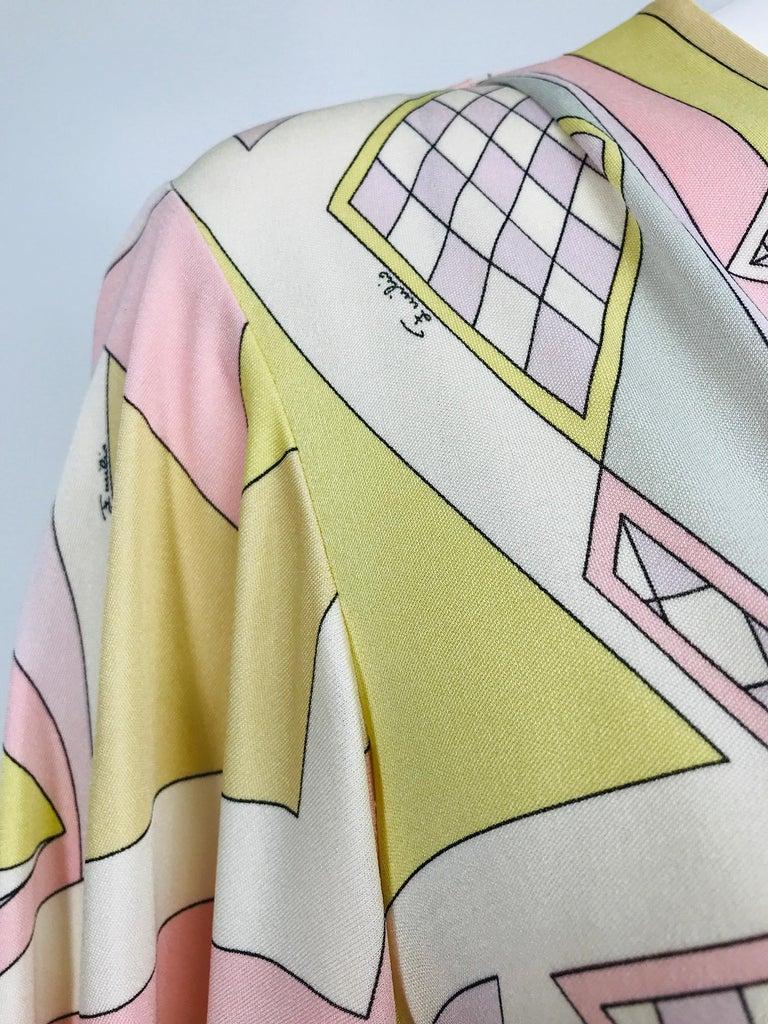 Emilio Pucci Vintage Silk V Neck Kimono Sleeve Day Dress  For Sale 7