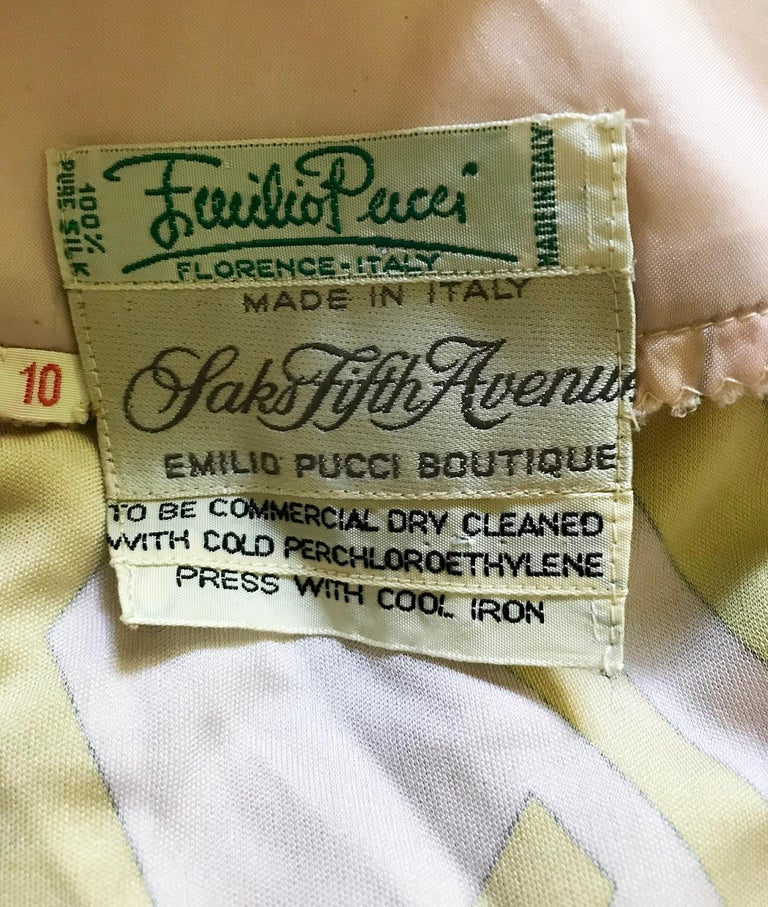 Emilio Pucci Vintage Silk V Neck Kimono Sleeve Day Dress  For Sale 9