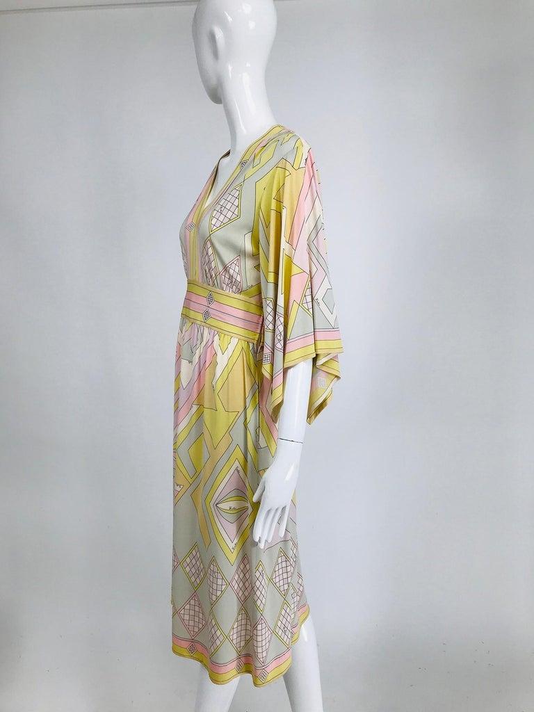 Beige Emilio Pucci Vintage Silk V Neck Kimono Sleeve Day Dress  For Sale