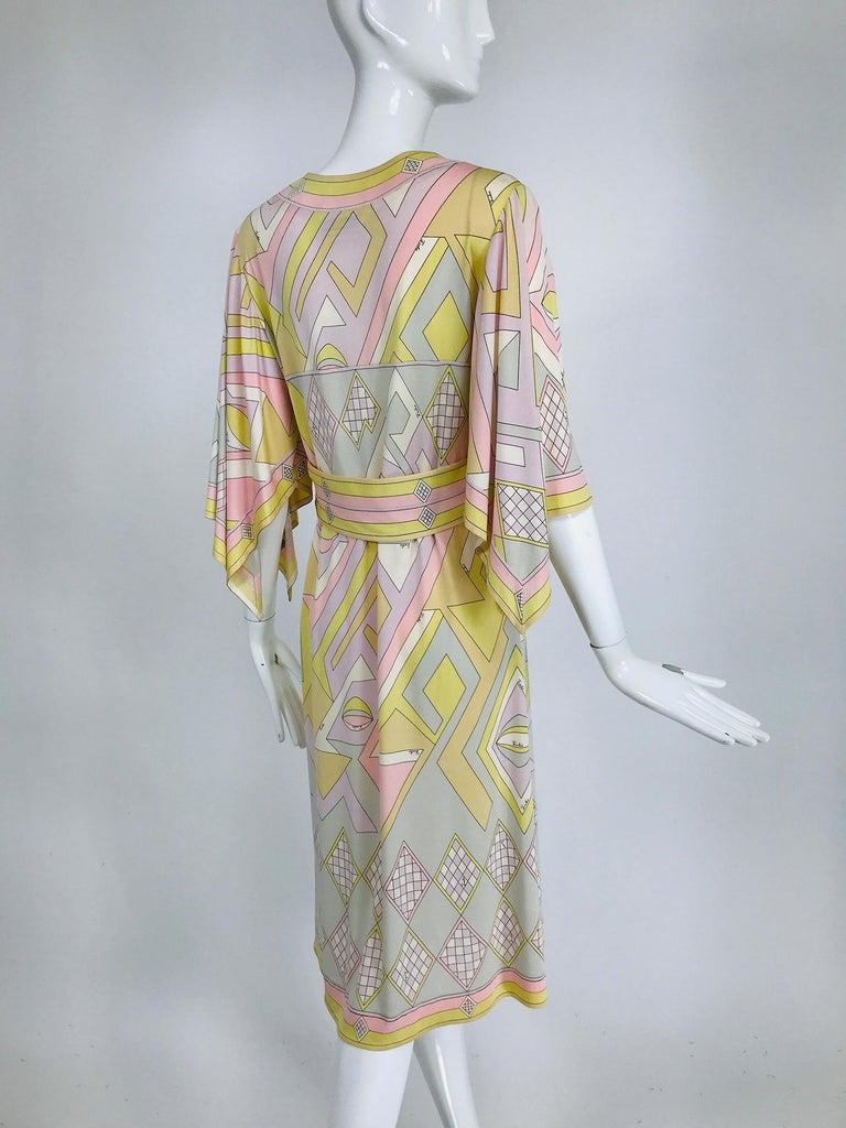 Emilio Pucci Vintage Silk V Neck Kimono Sleeve Day Dress  For Sale 1