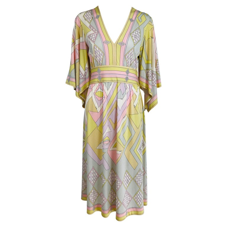 Emilio Pucci Vintage Silk V Neck Kimono Sleeve Day Dress  For Sale