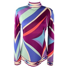EMILIO PUCCI Vintage Size 10 Blue& Purple Print Silk Mock Neck Blouse