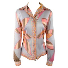 EMILIO PUCCI Vintage Size 10 Grey & Pink Floral Print Silk Blend Blouse