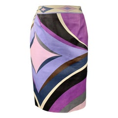 EMILIO PUCCI Vintage Size 4 Purple Print Leather Pencil Skirt