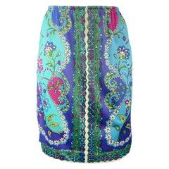EMILIO PUCCI Vintage Size M Blue & Green FLoral Print Nylon Jersey Skirt