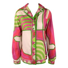 EMILIO PUCCI Vintage Size M Fuchsia & Green Print Cotton Spread Collar Blouse