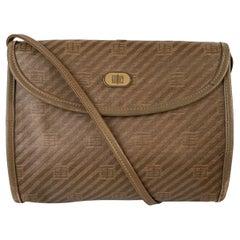 Emilio Pucci Vintage Tan Canvas Small Messenger Bag