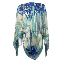 Emilio Pucci White and Blue Silk Tunic Cover Up One Size
