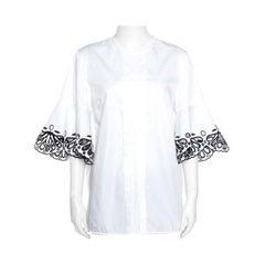 Emilio Pucci White Cotton Sangallo Trim Pintuck Detail Blouse M