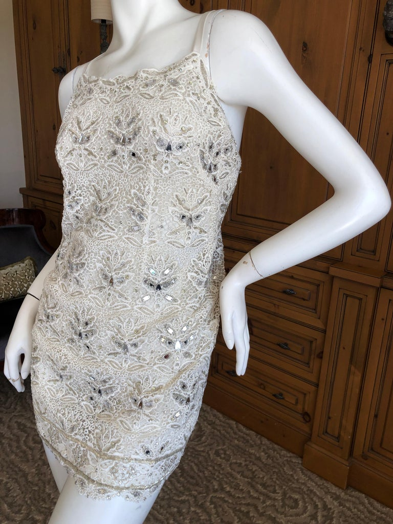 Emilio Pucci White Lace Micro Mini Dress with Mirror and Bead Embellishment WOW , this is so fun. Please use zoom to see the details. Size 34 FR 4 US Bust  35