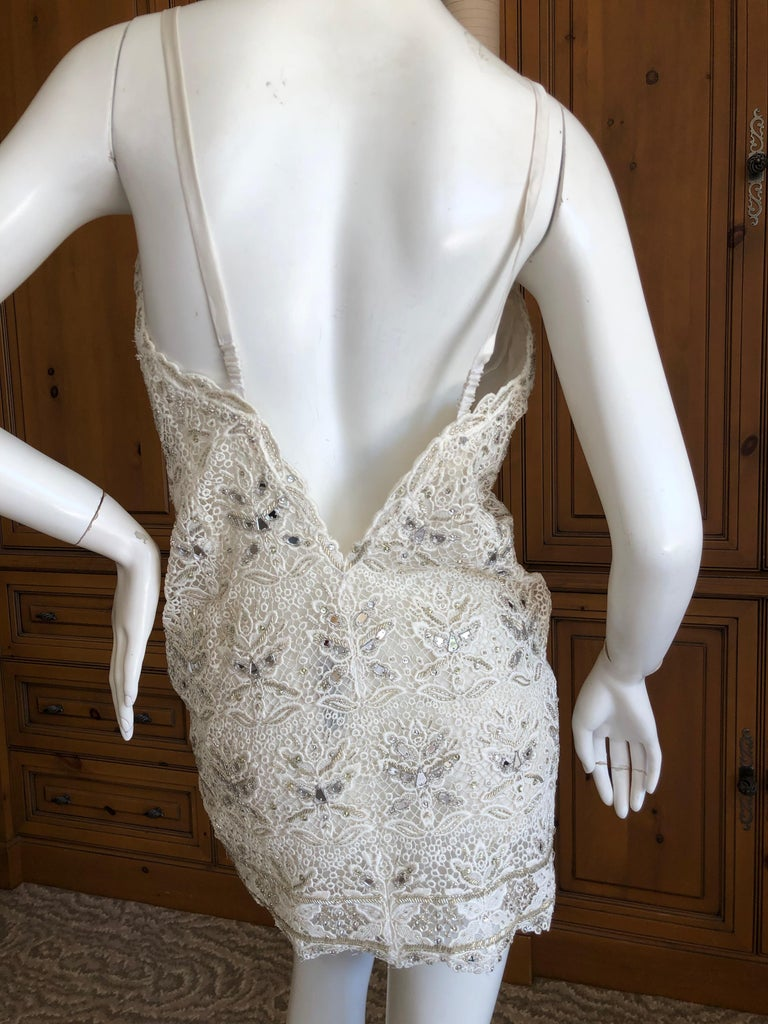 Gray Emilio Pucci White Lace Micro Mini Dress with Mirror and Bead Embellishment Sz 4