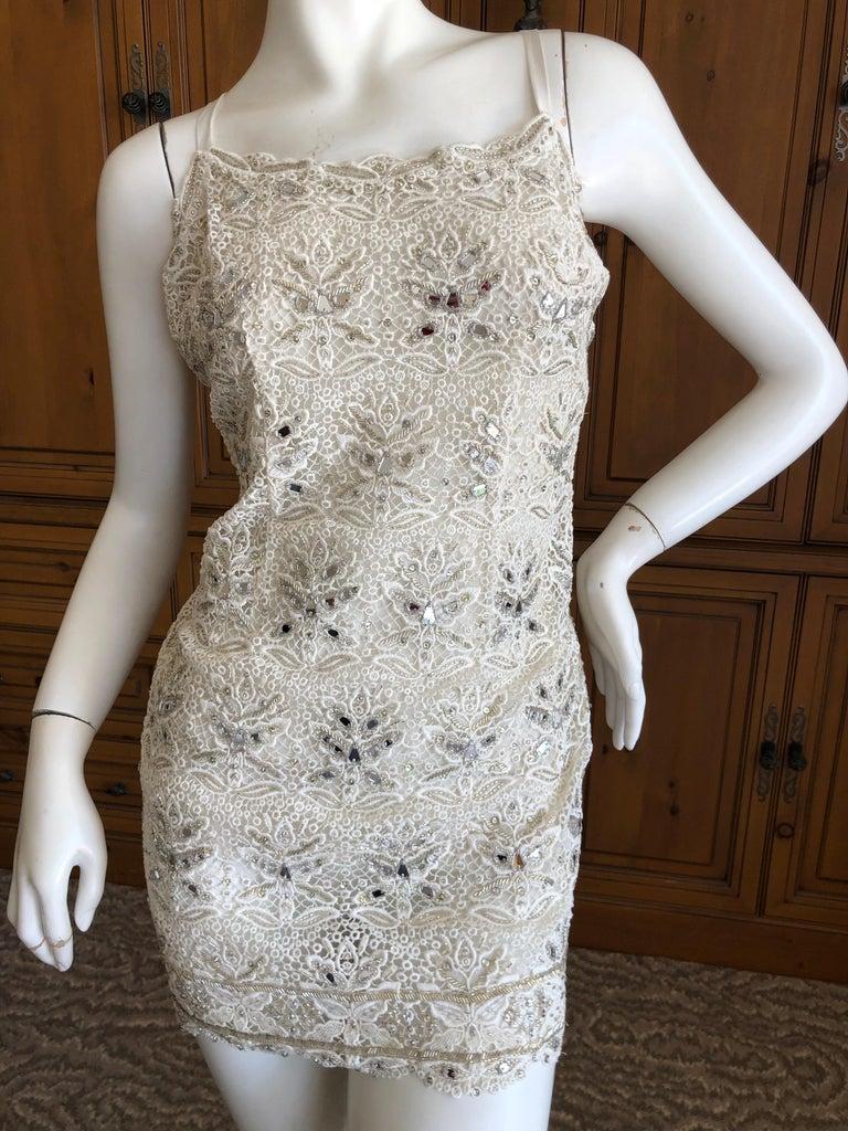 Emilio Pucci White Lace Micro Mini Dress with Mirror and Bead Embellishment Sz 4 In Excellent Condition In San Francisco, CA