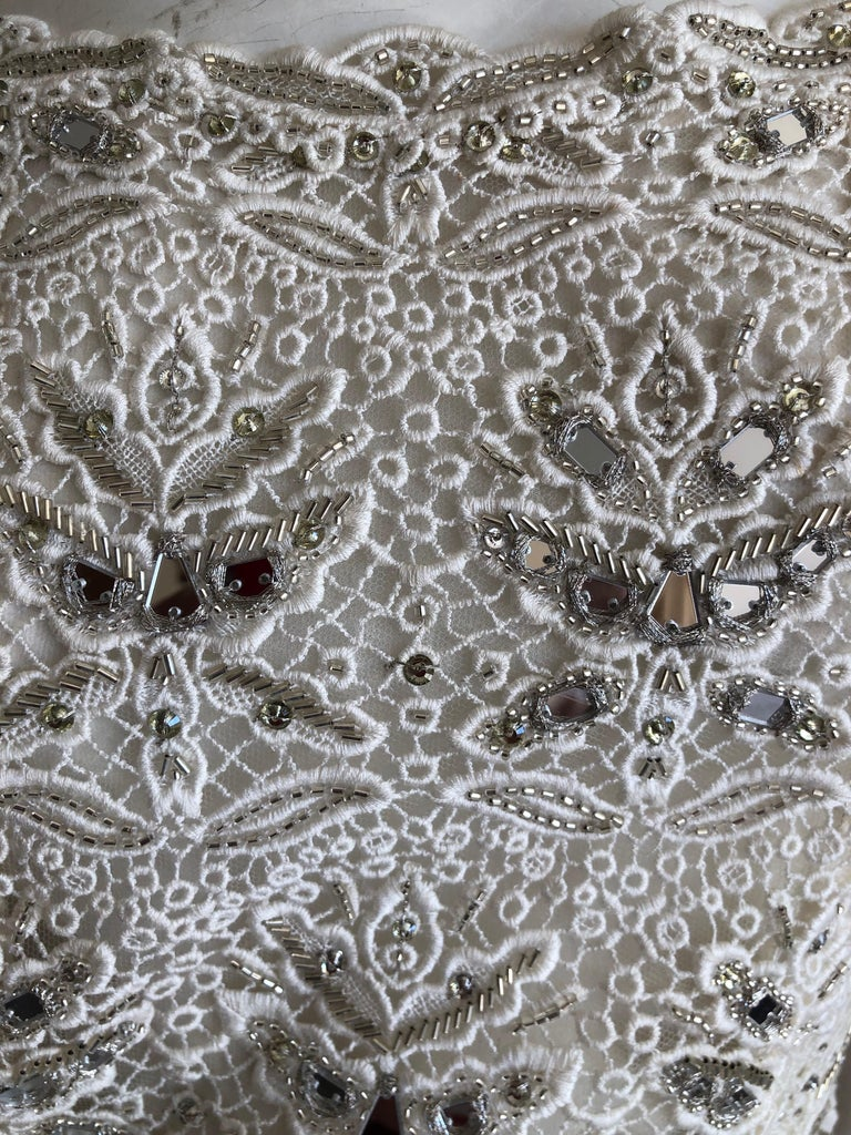 Women's Emilio Pucci White Lace Micro Mini Dress with Mirror and Bead Embellishment Sz 4