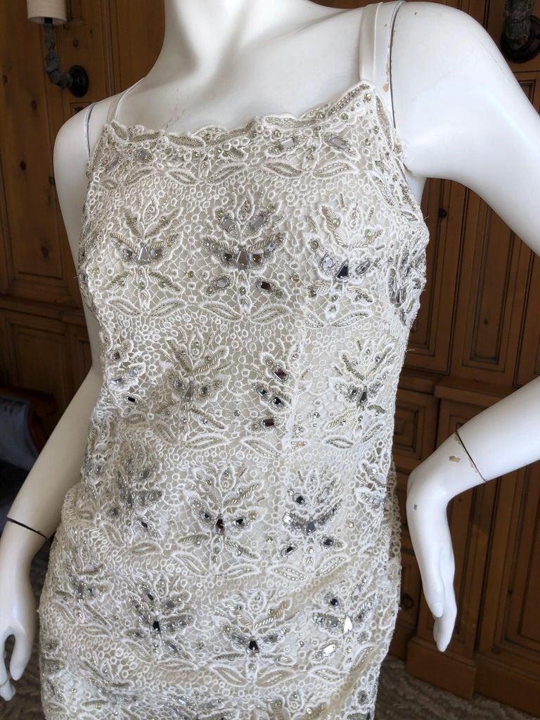Emilio Pucci White Lace Micro Mini Dress with Mirror and Bead Embellishment Sz 4 2