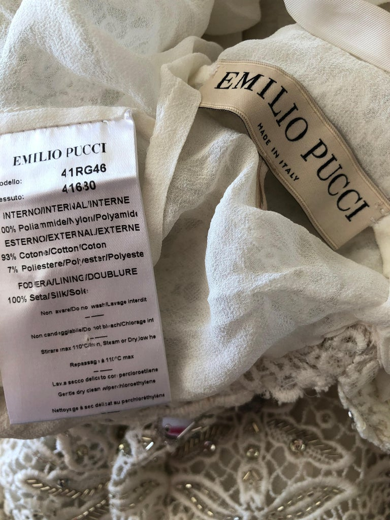 Emilio Pucci White Lace Micro Mini Dress with Mirror and Bead Embellishment Sz 4 3