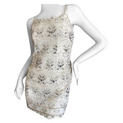 Emilio Pucci White Lace Micro Mini Dress with Mirror and Bead Embellishment Sz 4
