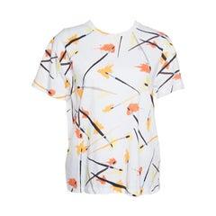 Emilio Pucci White Paint Brush Printed Cotton Short Sleeve T-Shirt M